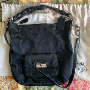 Coach purse with longer removable cross body strap